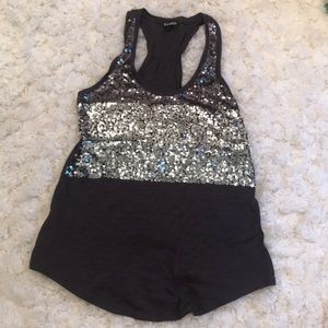 Gray Express tank with silver and gray sequins.